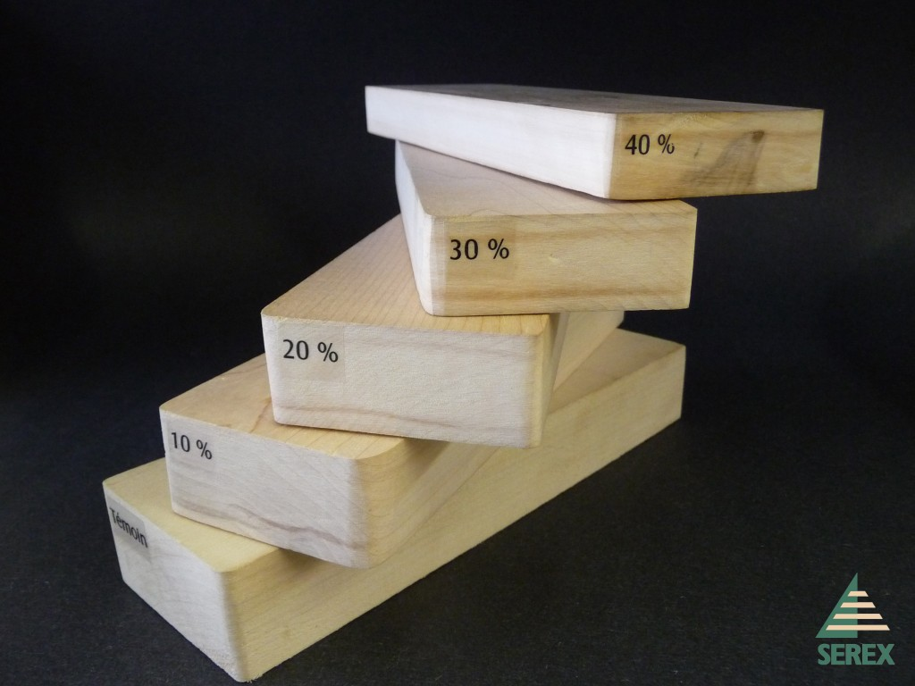 Thermally compressed wood